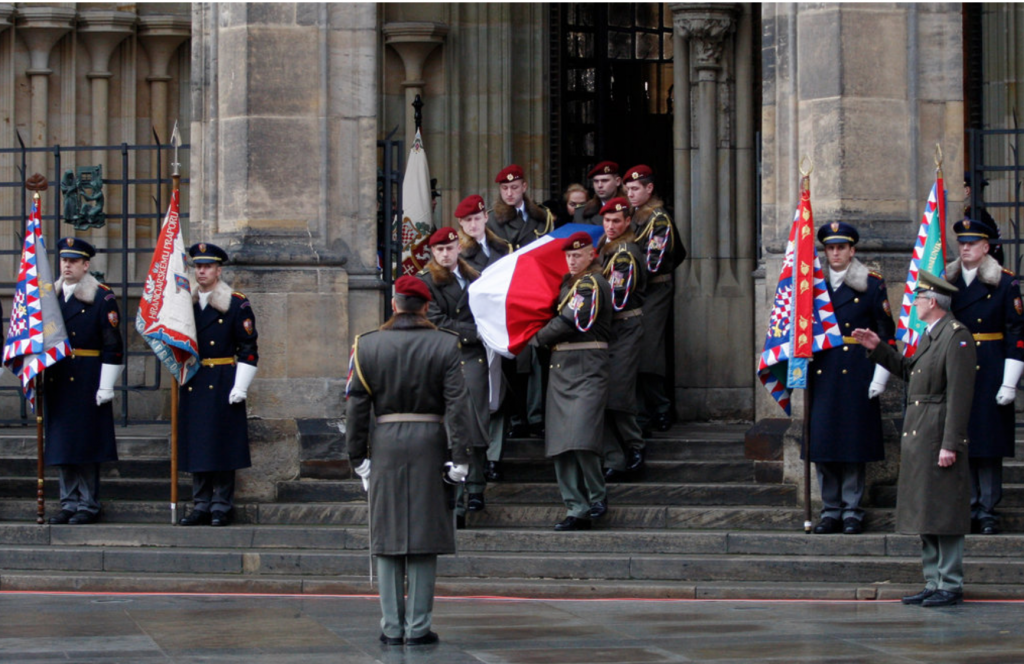 Soldiers carried the coffin during the state funeral for Vaclav Havel at St. Vitus Cathedral on Friday. Credit Photo by Petr David Josek