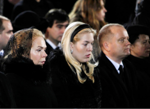 Dagmar Havlová, the widow of late former President Vaclav Havel, and her daughter Nina, right, attend the funeral ceremony inside Prague Castle's St. Vitus Cathedral on Friday. David W Cerny/Reuters