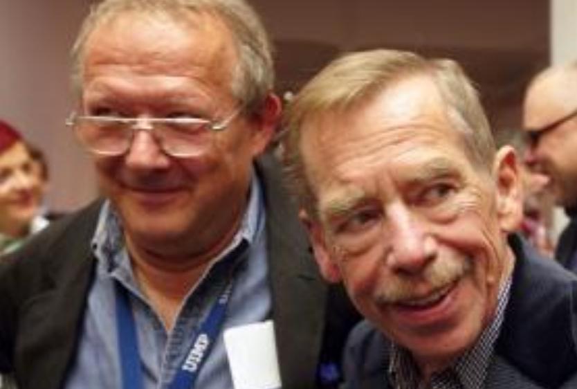 With Polish dissident editor Adam Michnik