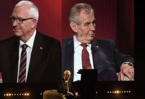 Candidates Jiri Drahos and Milos Zeman during a TV debate in January