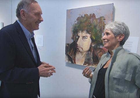 Singer-artist Joan Baez and her portrait of Bob Dylan