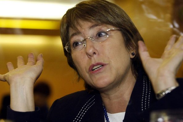 File: Chilean politician Michelle Bachelet in Santiago was elected as the country's first female president in 2006. CREDIT: MARTIN BERNETTI/AFP