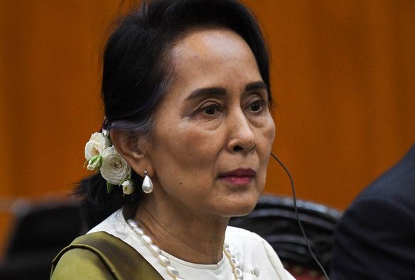 File: Myanmar state counsellor Aung San Suu Kyi attends a meeting with her Vietnamese counterpart at the prime minister office in Hanoi on April 19, 2018. CREDIT: ROSLAN RAHMAN/AFP