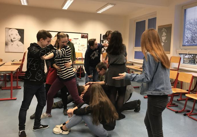 A group of Czech students practicing a Theatre of the Oppressed exercise. Photo courtesy of Hannah Sachs.