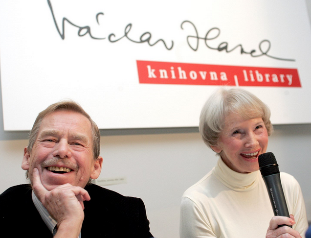 The former justice minister Dagmar Buresova with Vaclav Havel at the opening of the Vaclav Havel Library on November 12, 2004