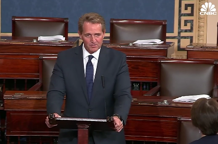 Retiring GOP Sen. Jeff Flake throws shade at Trump in farewell address to Congress, warns of dangers to democracy
