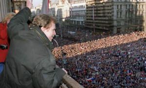 Vaclav Havel waves to a crowd of thousands of demonstrators gathered on Prague's Wenceslas Square on 10 December 1989. After the Velvet Revolution, Havel served as the last president of Czechoslovakia and then the first president of the Czech Republic. Photograph: Lubomir Kotek/AFP