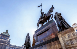 The iconic statue of Saint Wenceslas on Vaclavske Namesti in Prague. A less traditional version of the statue has since been sculpted by David Černý. Photograph: Artush/Getty Images/iStockphoto